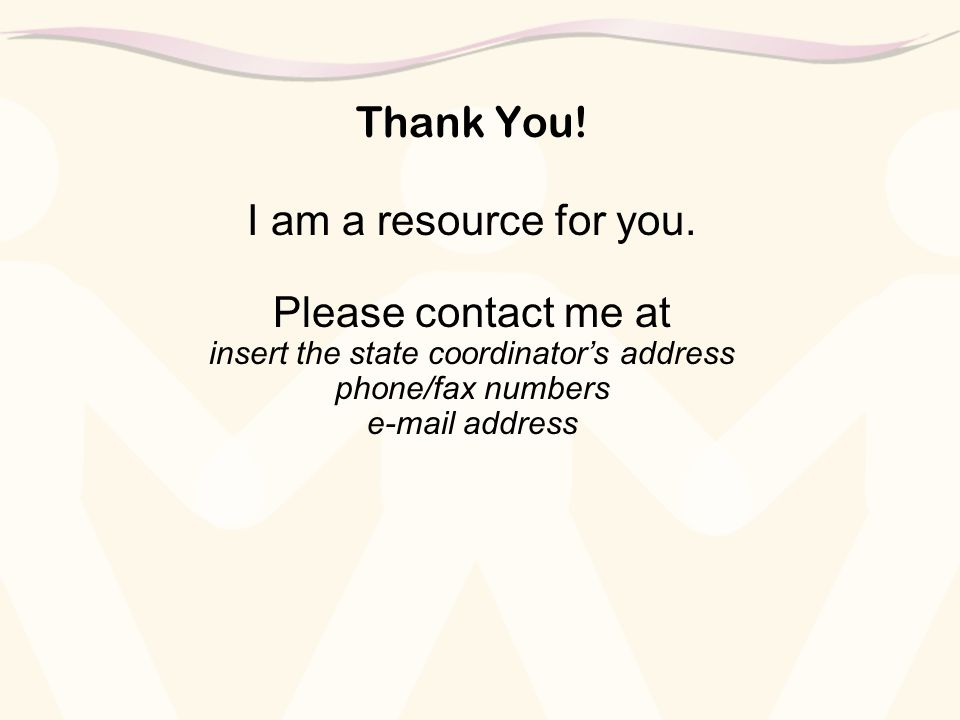 Thank You. I am a resource for you.