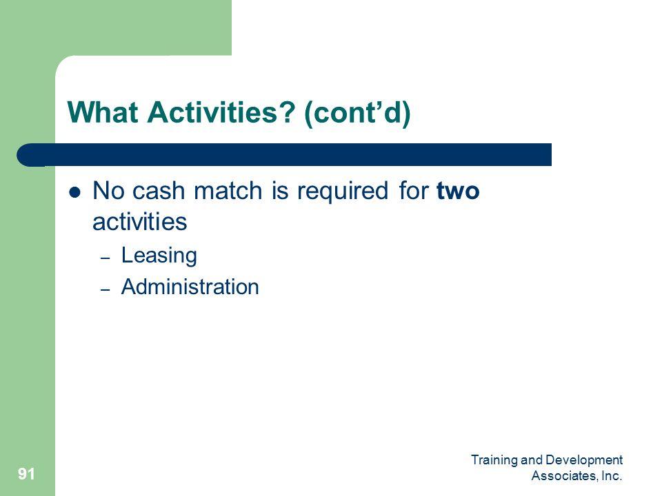 Training and Development Associates, Inc. 91 What Activities.