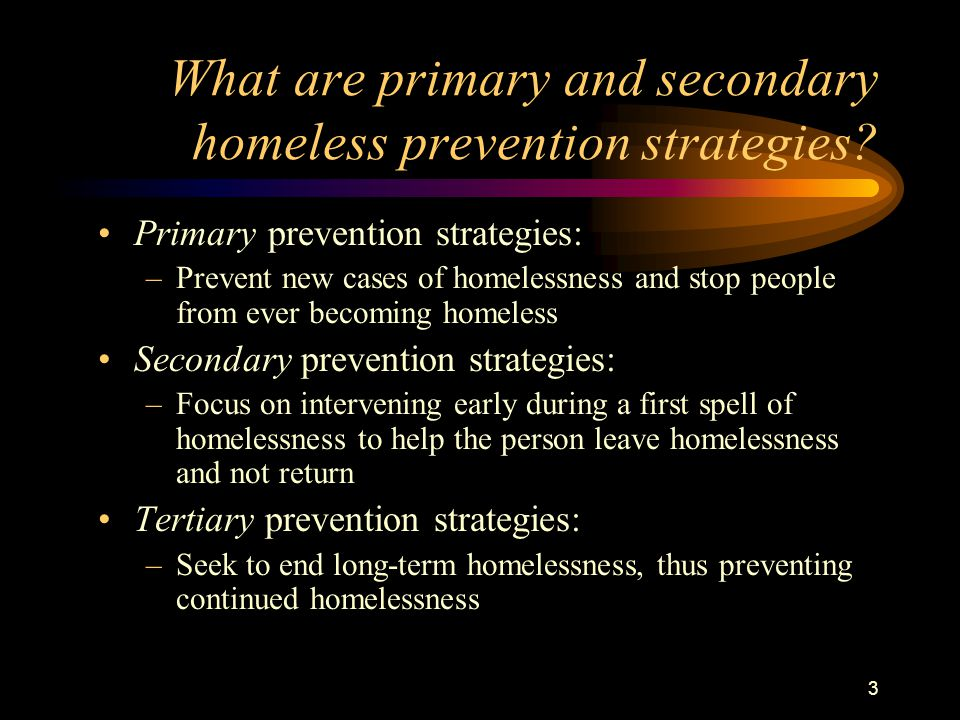 3 What are primary and secondary homeless prevention strategies.