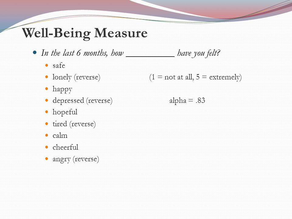 Well-Being Measure In the last 6 months, how __________ have you felt.