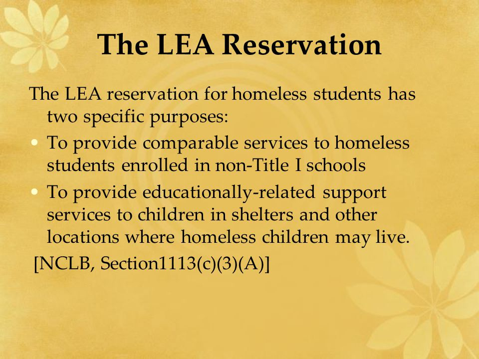 The LEA Reservation The LEA reservation for homeless students has two specific purposes: To provide comparable services to homeless students enrolled