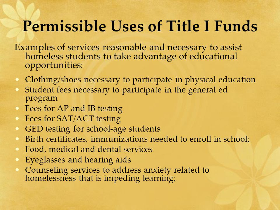 Permissible Uses of Title I Funds Examples of services reasonable and necessary to assist homeless students to take advantage of educational opportuni