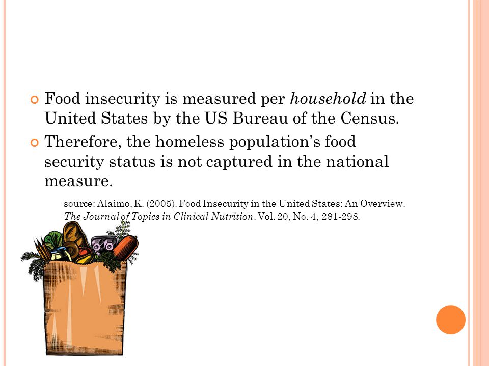 Food insecurity is measured per household in the United States by the US Bureau of the Census.