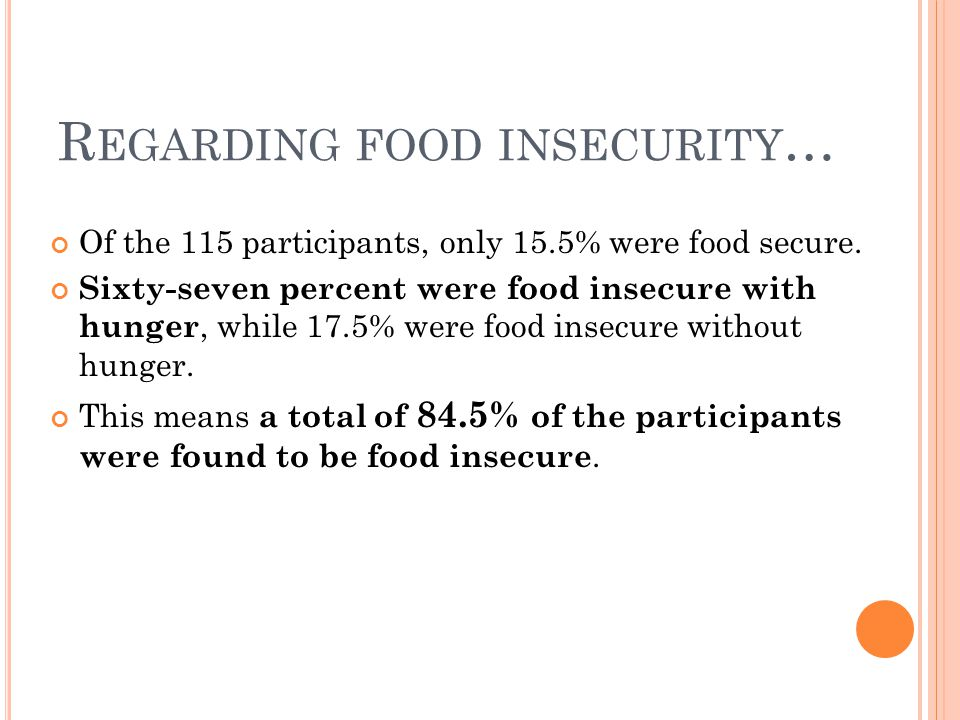 R EGARDING FOOD INSECURITY … Of the 115 participants, only 15.5% were food secure.