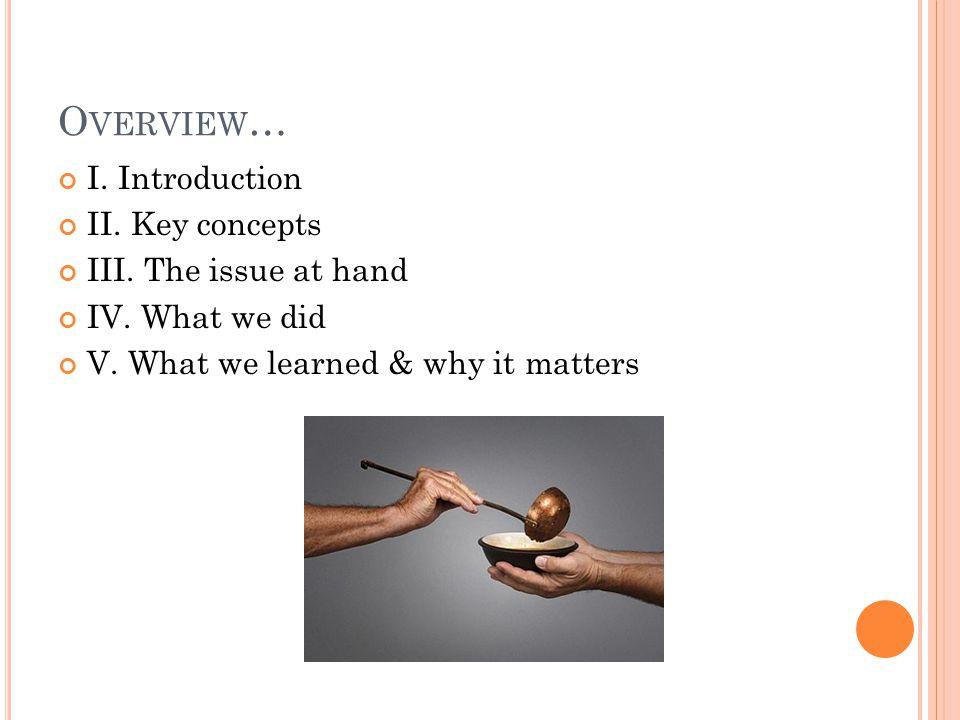 O VERVIEW … I. Introduction II. Key concepts III.