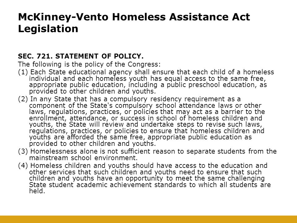 McKinney-Vento Homeless Assistance Act Legislation SEC.