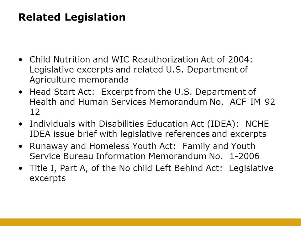 Related Legislation Child Nutrition and WIC Reauthorization Act of 2004: Legislative excerpts and related U.S.