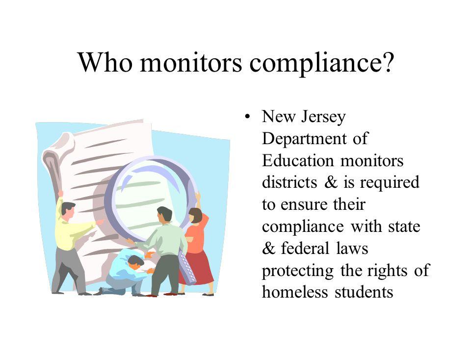 Who monitors compliance.