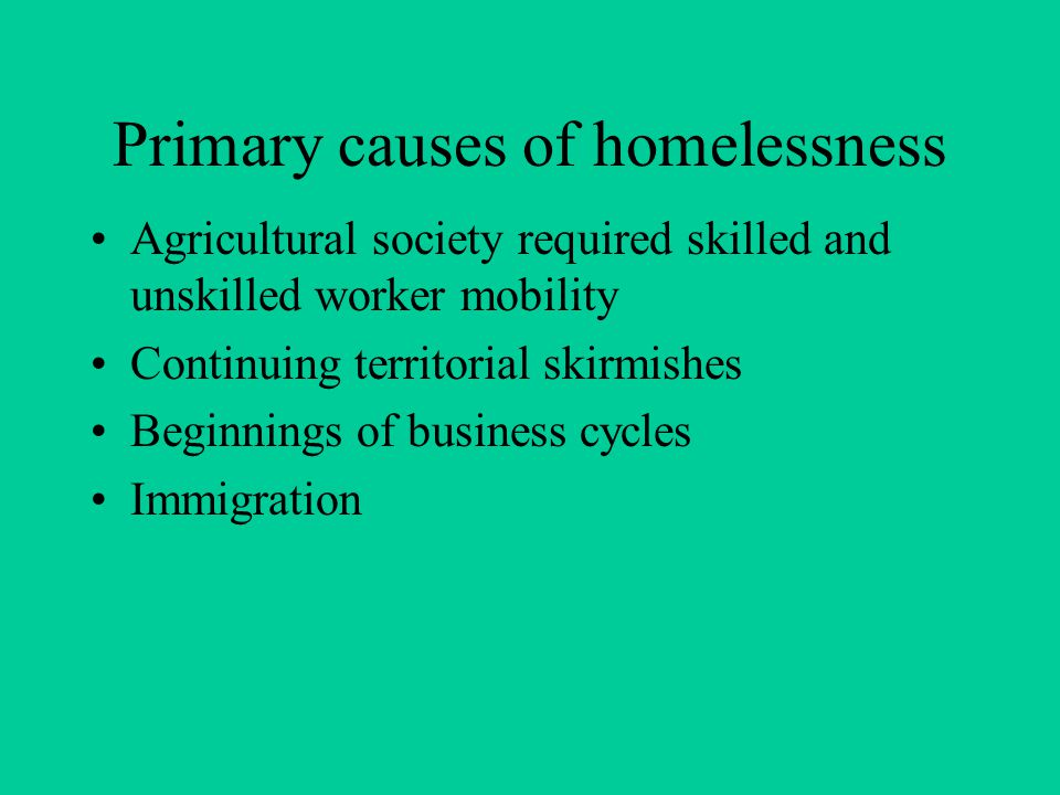 Primary causes of homelessness Agricultural society required skilled and unskilled worker mobility Continuing territorial skirmishes Beginnings of business cycles Immigration