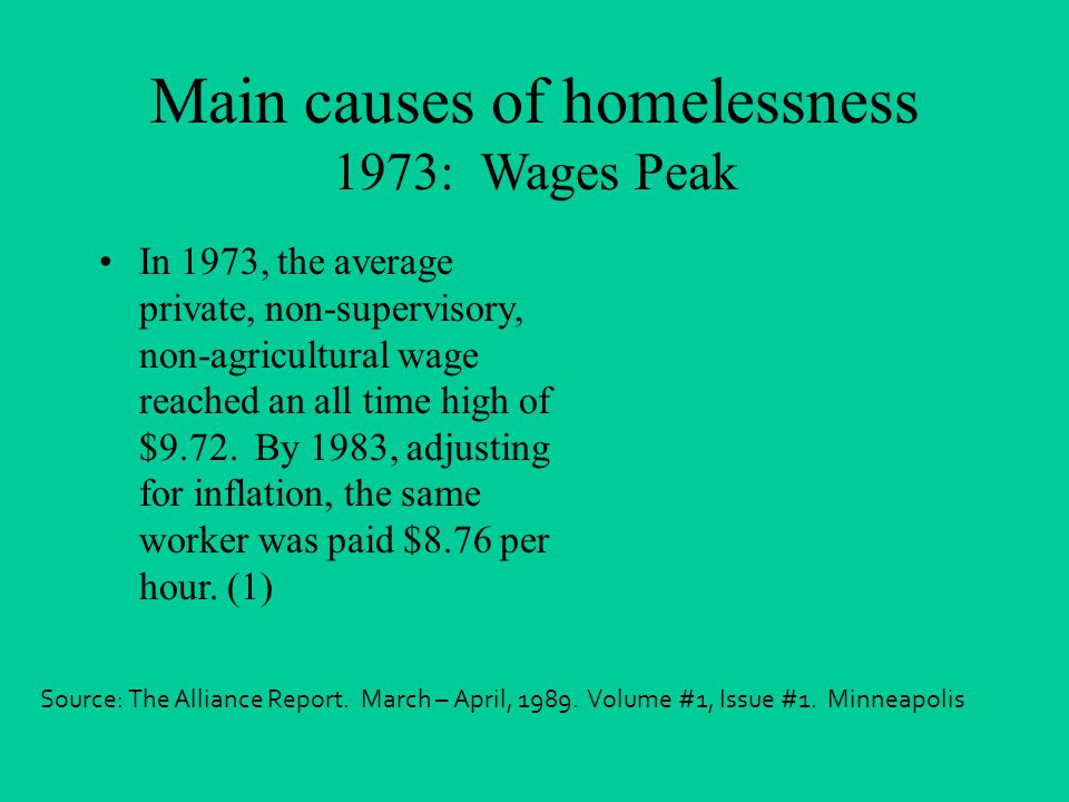 Main causes of homelessness 1973: Wages Peak In 1973, the average private, non-supervisory, non-agricultural wage reached an all time high of $9.72.