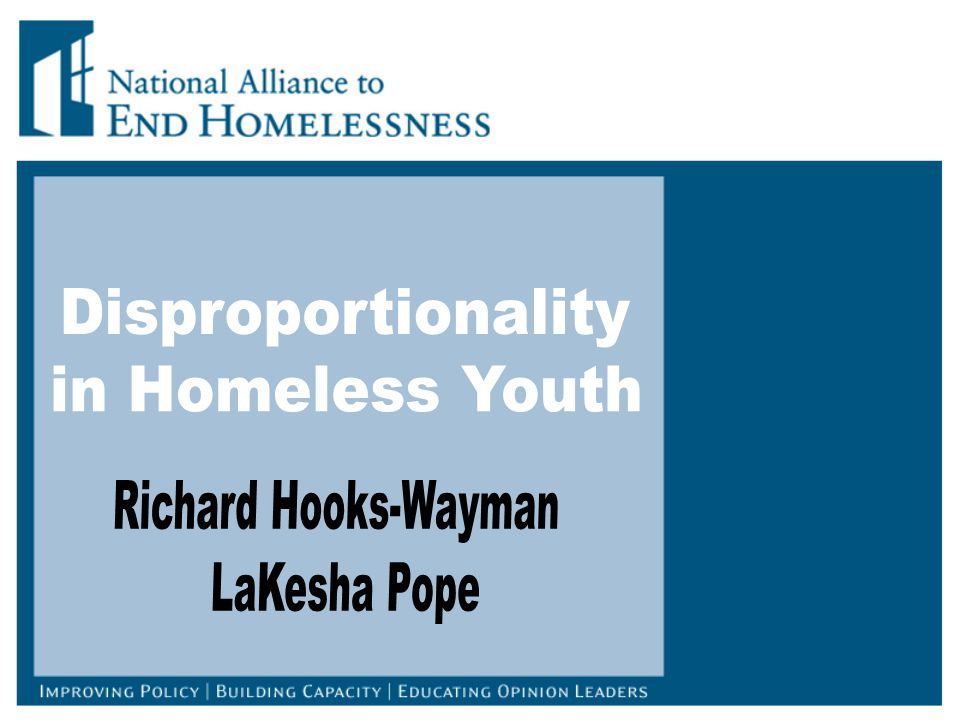 First Annual Homeless Assessment Report on Homeless Adults and Youth (HUD) Disproportionate representation of individuals of color in homelessness compared to the general population.
