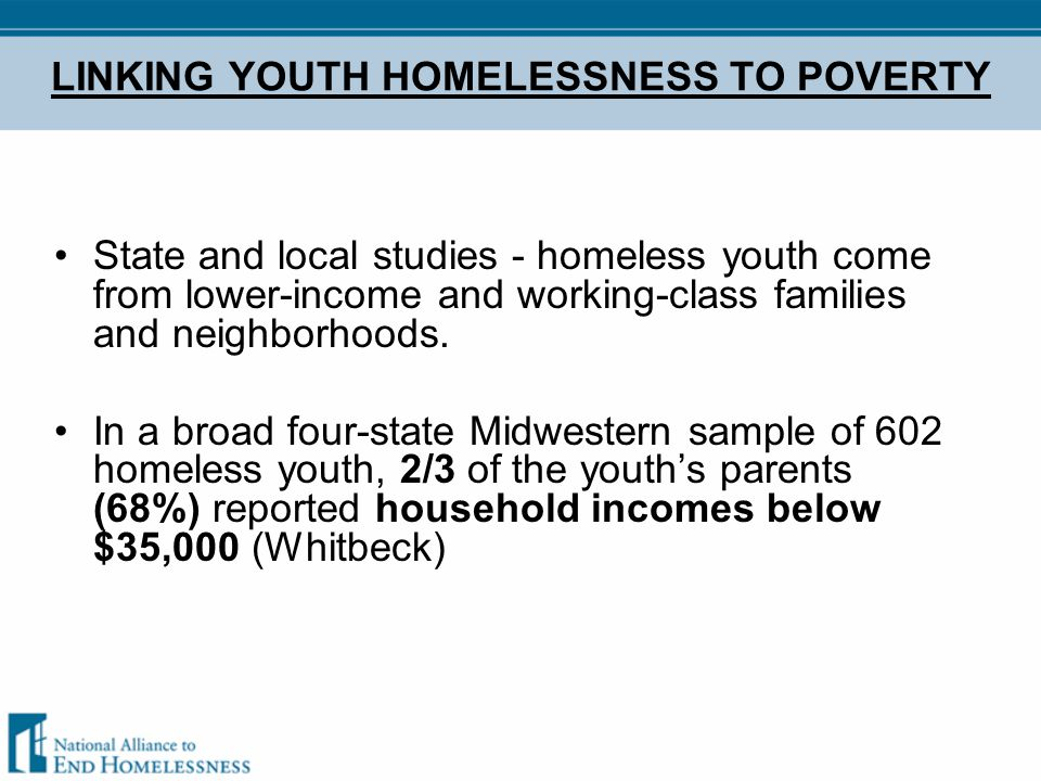 In a Detroit shelter, most youth (69%) came from families in which the parents held unskilled or blue-collar jobs.