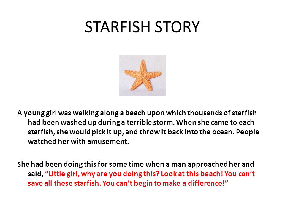 STARFISH STORY A young girl was walking along a beach upon which thousands of starfish had been washed up during a terrible storm.