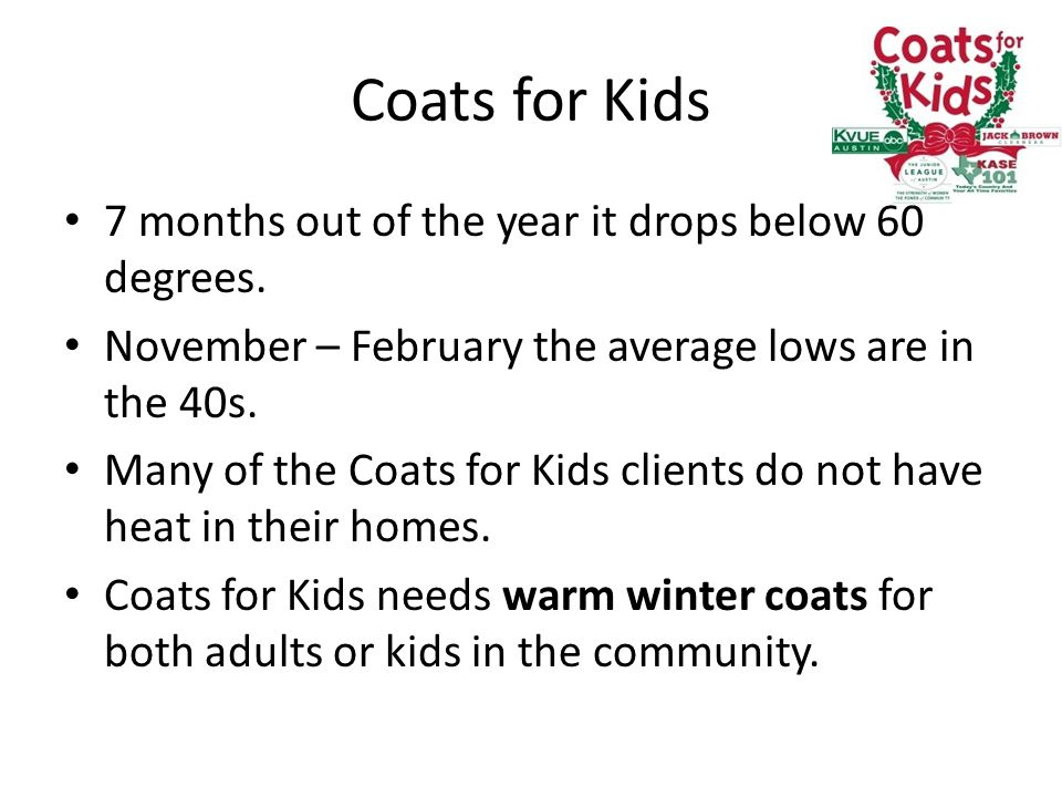 Coats for Kids 7 months out of the year it drops below 60 degrees.