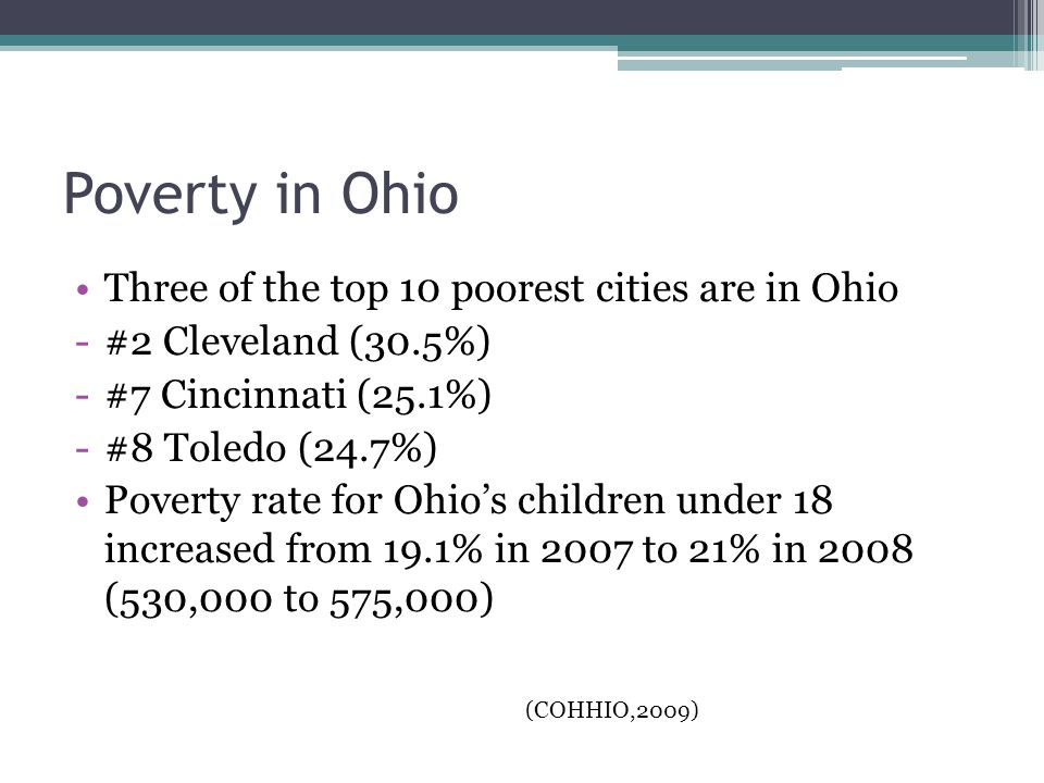Poverty in Ohio Three of the top 10 poorest cities are in Ohio -#2 Cleveland (30.5%) -#7 Cincinnati (25.1%) -#8 Toledo (24.7%) Poverty rate for Ohio's children under 18 increased from 19.1% in 2007 to 21% in 2008 (530,000 to 575,000) (COHHIO,2009)