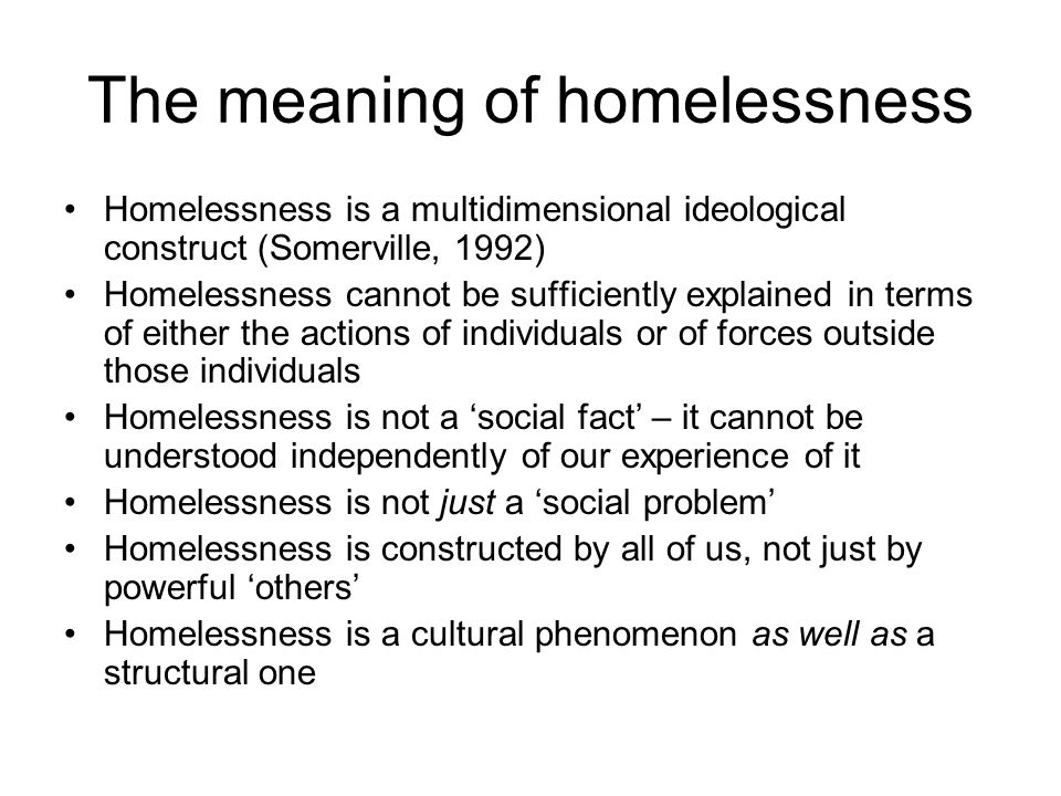 McNaughton's theory of homelessness The significance of capital The link between low capital and edgework, and the 'duality of edges' The nature of human agency Divestment and integrative passages – routes into and out of homelessness The unintended consequences of welfare interventions – counterproductivity, stigma, institutional discrimination A theory of complex behaviour.