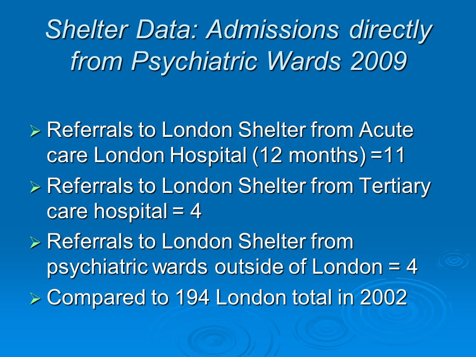 Shelter Data: Admissions directly from Psychiatric Wards 2009  Referrals to London Shelter from Acute care London Hospital (12 months) =11  Referral