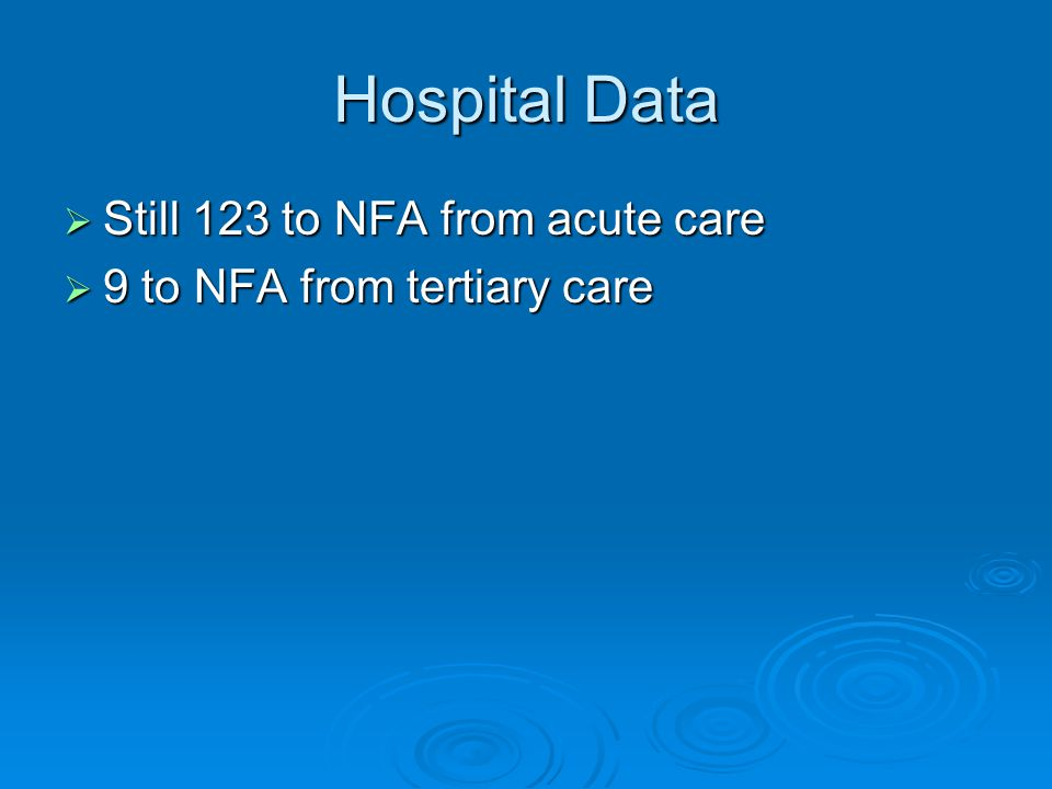 Hospital Data  Still 123 to NFA from acute care  9 to NFA from tertiary care