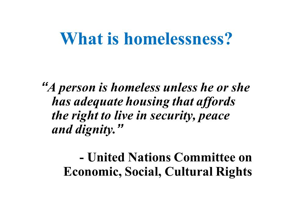 "What is homelessness? "" A person is homeless unless he or she has adequate housing that affords the right to live in security, peace and dignity. "" -"