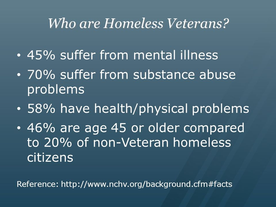 Who are Homeless Veterans.