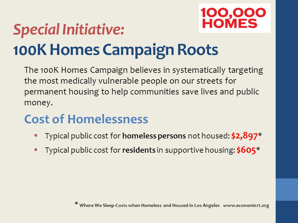 Special Initiative: 100K Homes Campaign Roots The 100K Homes Campaign believes in systematically targeting the most medically vulnerable people on our
