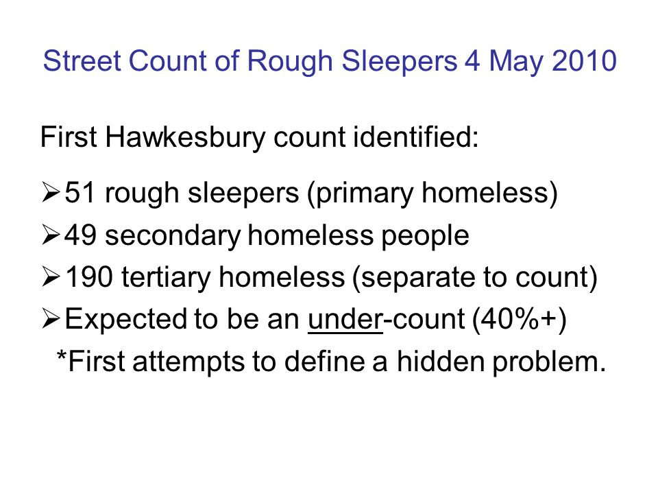 Street Count of Rough Sleepers 4 May 2010 First Hawkesbury count identified:  51 rough sleepers (primary homeless)  49 secondary homeless people  190 tertiary homeless (separate to count)  Expected to be an under-count (40%+) *First attempts to define a hidden problem.