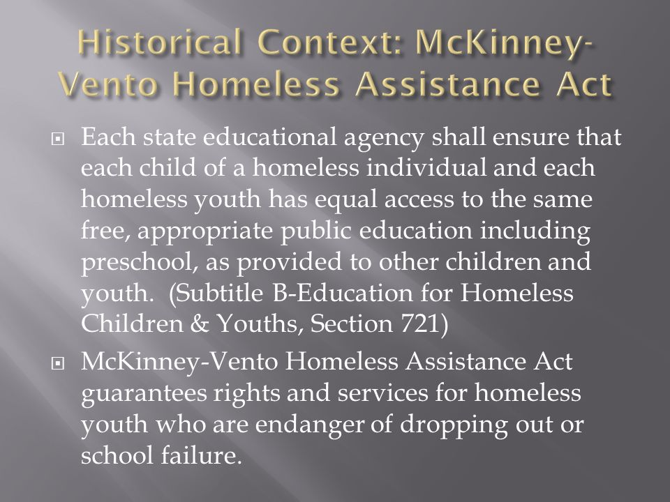  Each state educational agency shall ensure that each child of a homeless individual and each homeless youth has equal access to the same free, appropriate public education including preschool, as provided to other children and youth.