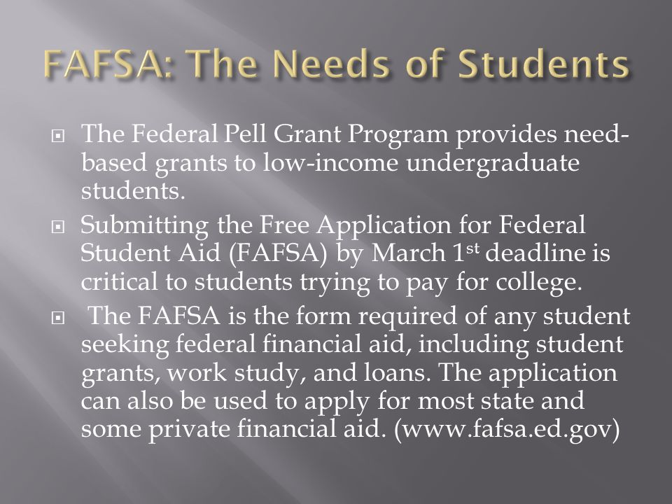  The Federal Pell Grant Program provides need- based grants to low-income undergraduate students.