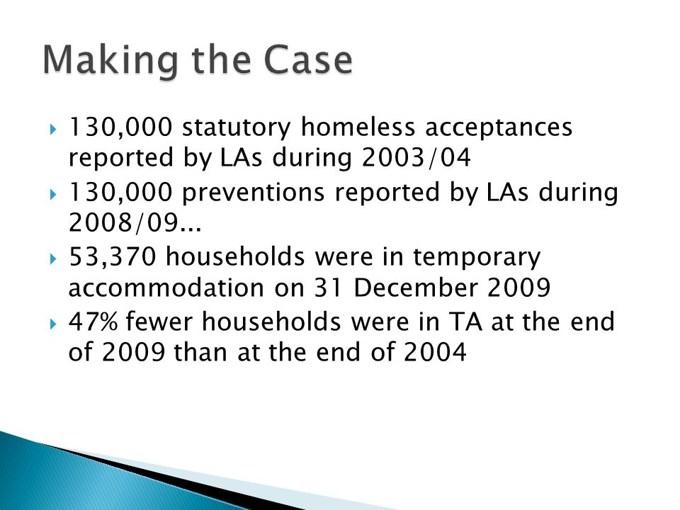 Causes of Homelessness Amongst Ethnic Minority Populations; Dr Marie-Claude Gervais and Hamid Rehman, ETHNOS research and consultancy; Office of the Deputy Prime Minister; September 2005 http://www.communities.gov.uk/publications/housin g/causesamongstethnic  More Than a Roof: Progress in Tackling Homelessness, National Audit Office, February 2005 http://www.nao.org.uk/publications/0405/more_tha n_a_roof.aspx