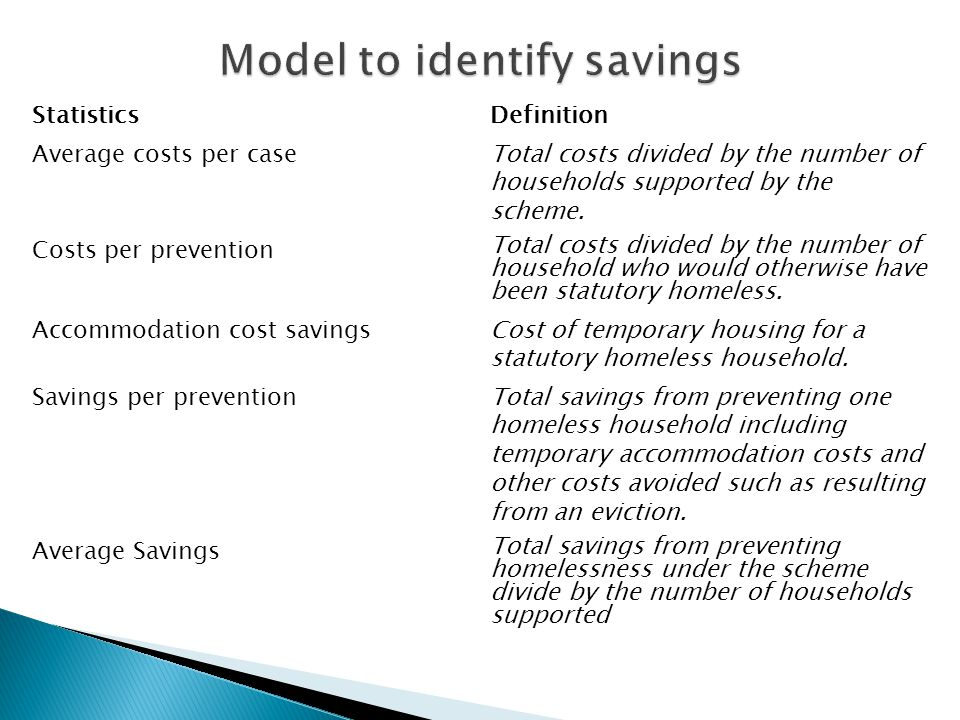 StatisticsDefinition Average costs per caseTotal costs divided by the number of households supported by the scheme.