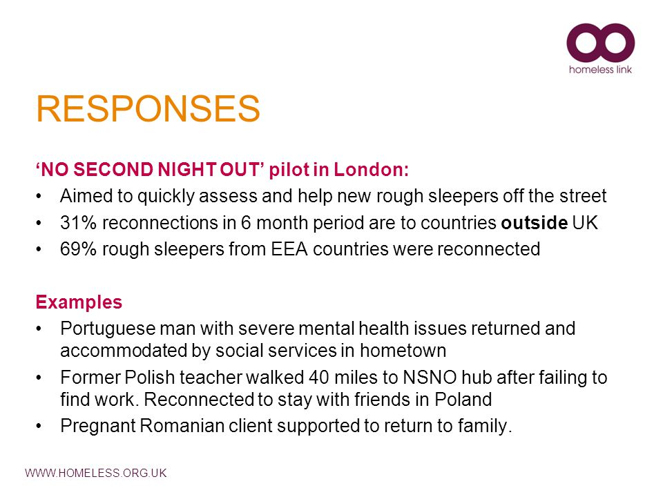 WWW.HOMELESS.ORG.UK RESPONSES 'NO SECOND NIGHT OUT' pilot in London: Aimed to quickly assess and help new rough sleepers off the street 31% reconnecti
