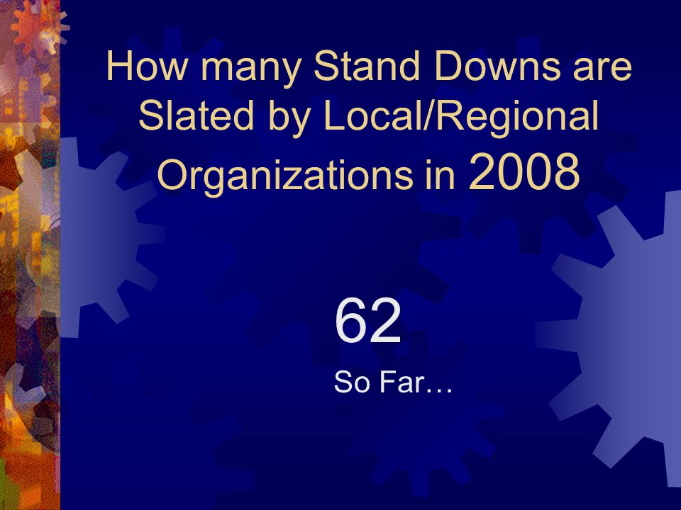 How many Stand Downs are Slated by Local/Regional Organizations in 2008 62 So Far…