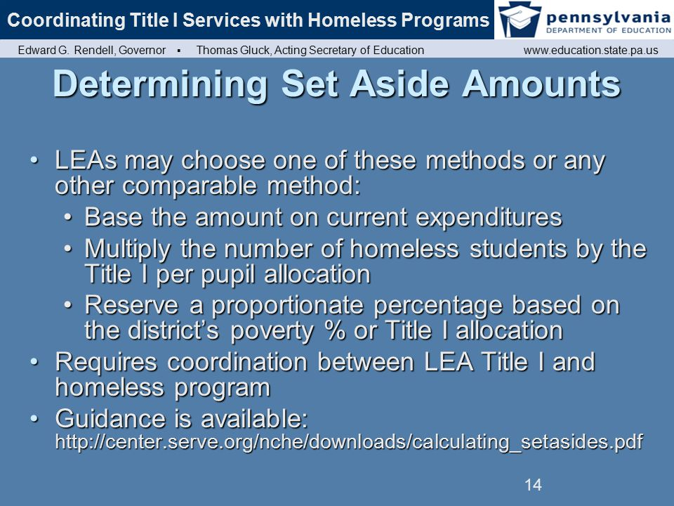 Coordinating Title I Services with Homeless Programs Edward G.