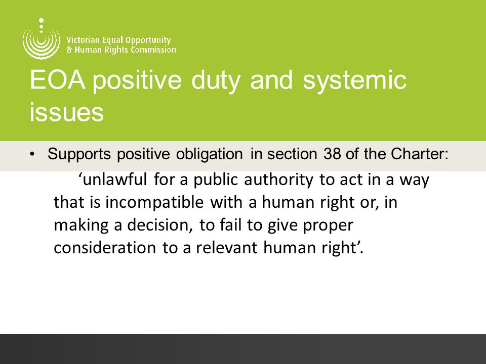 EOA positive duty and systemic issues Supports positive obligation in section 38 of the Charter: 'unlawful for a public authority to act in a way that