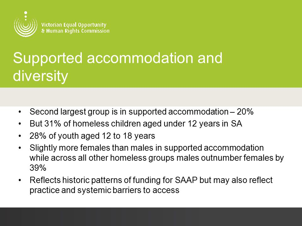 Supported accommodation and diversity Second largest group is in supported accommodation – 20% But 31% of homeless children aged under 12 years in SA