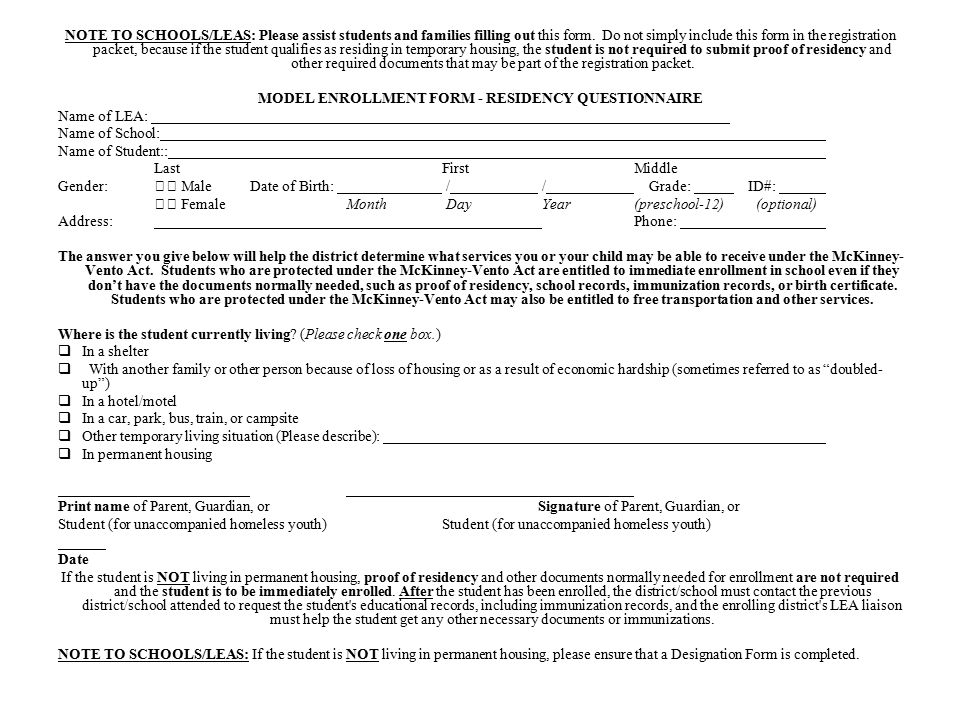 NOTE TO SCHOOLS/LEAS: Please assist students and families filling out this form.