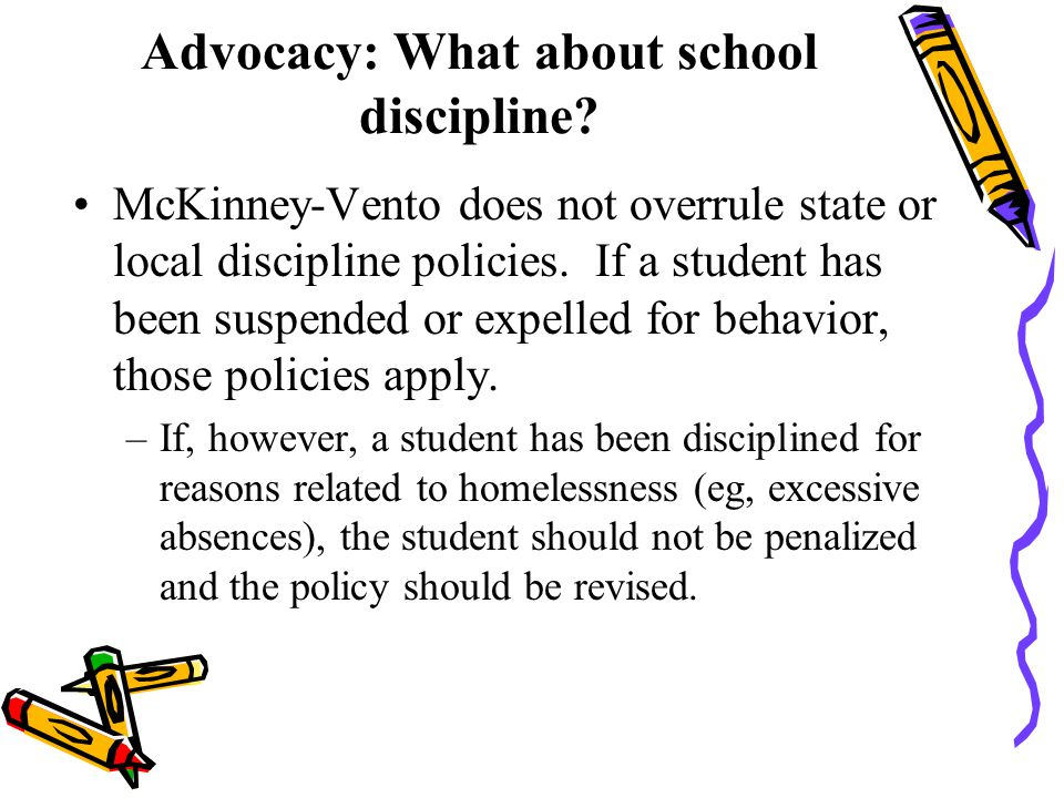 Advocacy: What about school discipline.