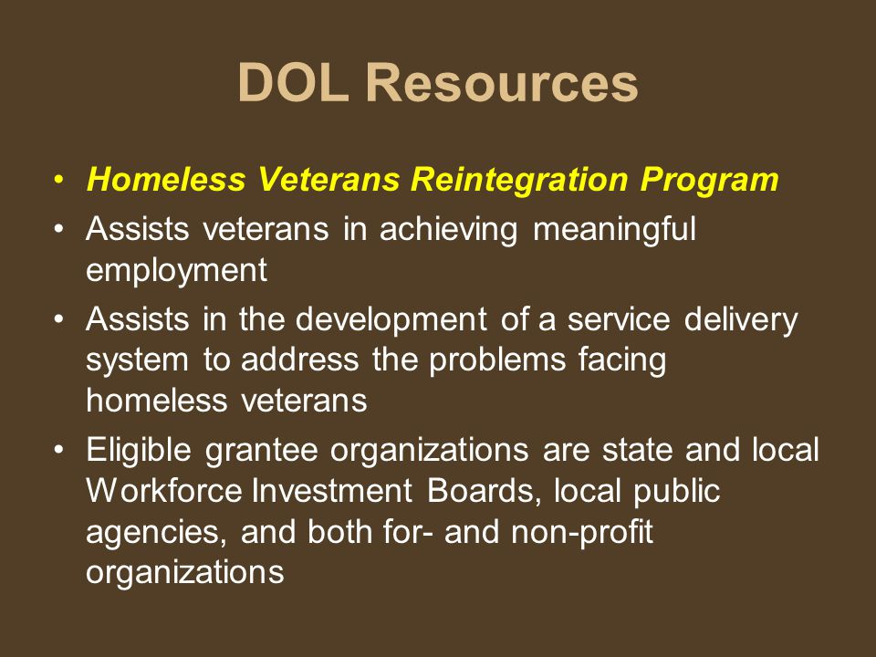 DOL Resources Homeless Veterans Reintegration Program Assists veterans in achieving meaningful employment Assists in the development of a service delivery system to address the problems facing homeless veterans Eligible grantee organizations are state and local Workforce Investment Boards, local public agencies, and both for- and non-profit organizations
