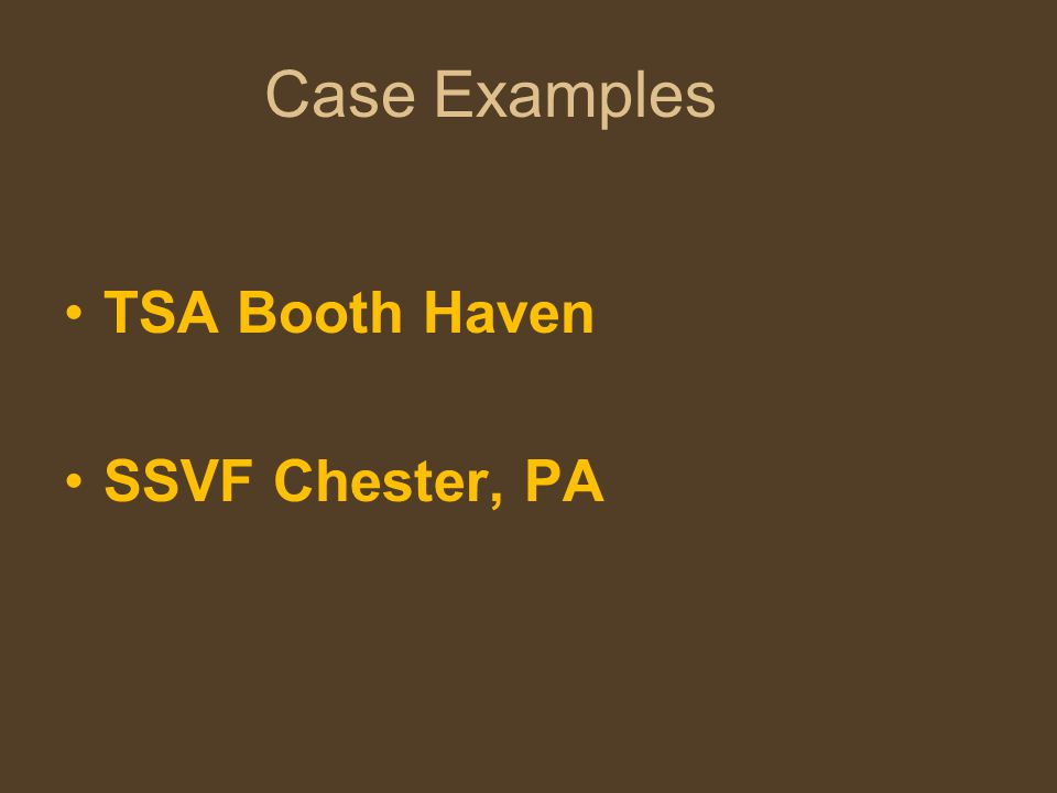 Case Examples TSA Booth Haven SSVF Chester, PA