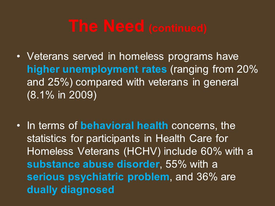 The Need (continued) Veterans served in homeless programs have higher unemployment rates (ranging from 20% and 25%) compared with veterans in general (8.1% in 2009) In terms of behavioral health concerns, the statistics for participants in Health Care for Homeless Veterans (HCHV) include 60% with a substance abuse disorder, 55% with a serious psychiatric problem, and 36% are dually diagnosed