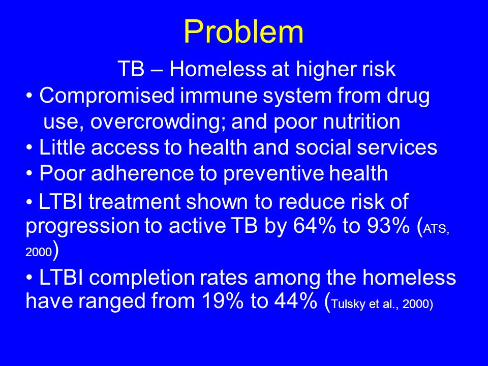 Problem TB – Homeless at higher risk Compromised immune system from drug use, overcrowding; and poor nutrition Little access to health and social services Poor adherence to preventive health LTBI treatment shown to reduce risk of progression to active TB by 64% to 93% ( ATS, 2000 ) LTBI completion rates among the homeless have ranged from 19% to 44% ( Tulsky et al., 2000)
