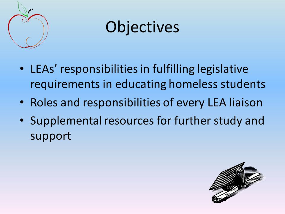 Objectives LEAs' responsibilities in fulfilling legislative requirements in educating homeless students Roles and responsibilities of every LEA liaison Supplemental resources for further study and support