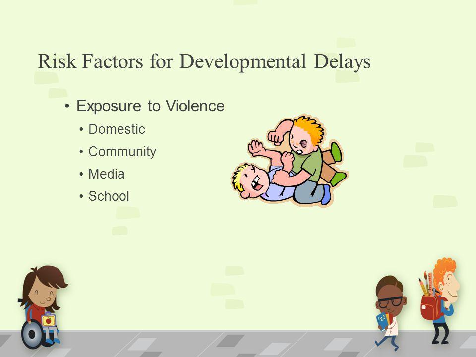 Risk Factors for Developmental Delays Exposure to Violence Domestic Community Media School