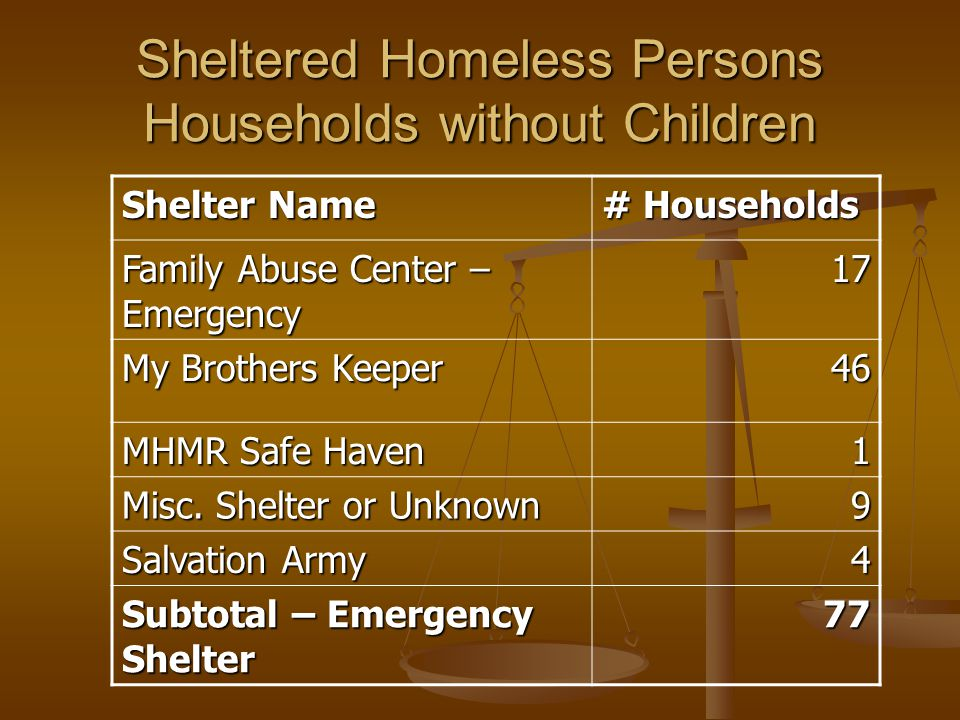 Sheltered Homeless Persons Households without Children Shelter Name # Households Family Abuse Center – Emergency 17 My Brothers Keeper 46 MHMR Safe Haven 1 Misc.