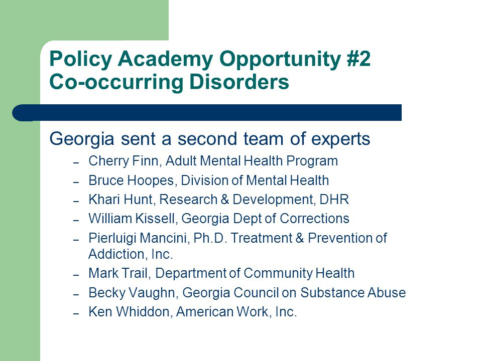 Policy Academy Opportunity #2 Co-occurring Disorders Georgia sent a second team of experts – Cherry Finn, Adult Mental Health Program – Bruce Hoopes, Division of Mental Health – Khari Hunt, Research & Development, DHR – William Kissell, Georgia Dept of Corrections – Pierluigi Mancini, Ph.D.