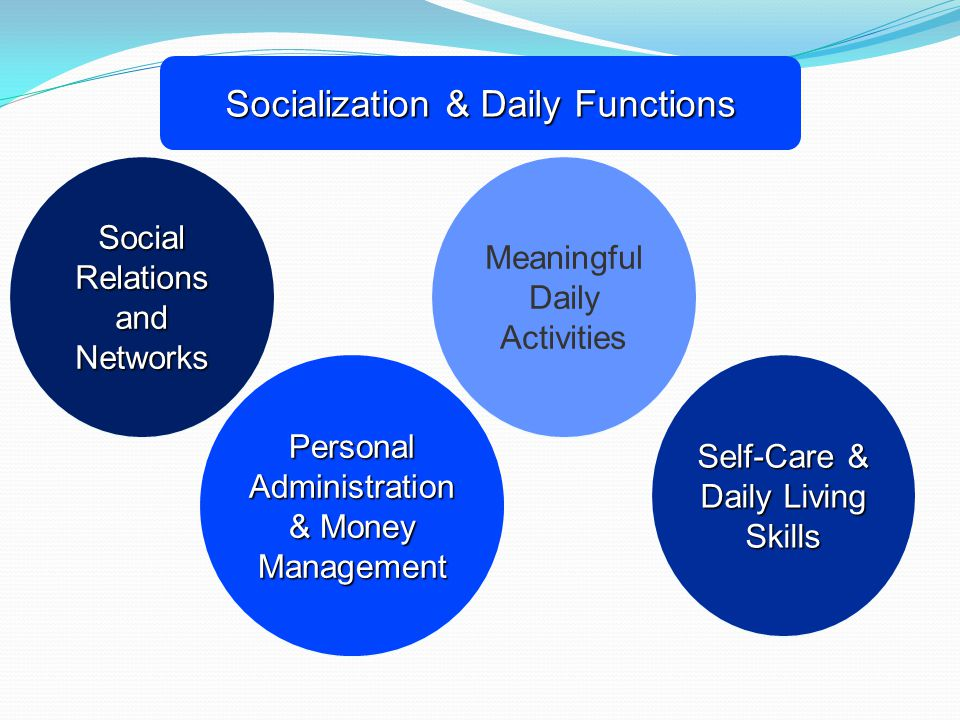 Socialization & Daily Functions Social Relations and Networks Meaningful Daily Activities Personal Administration & Money Management Self-Care & Daily Living Skills