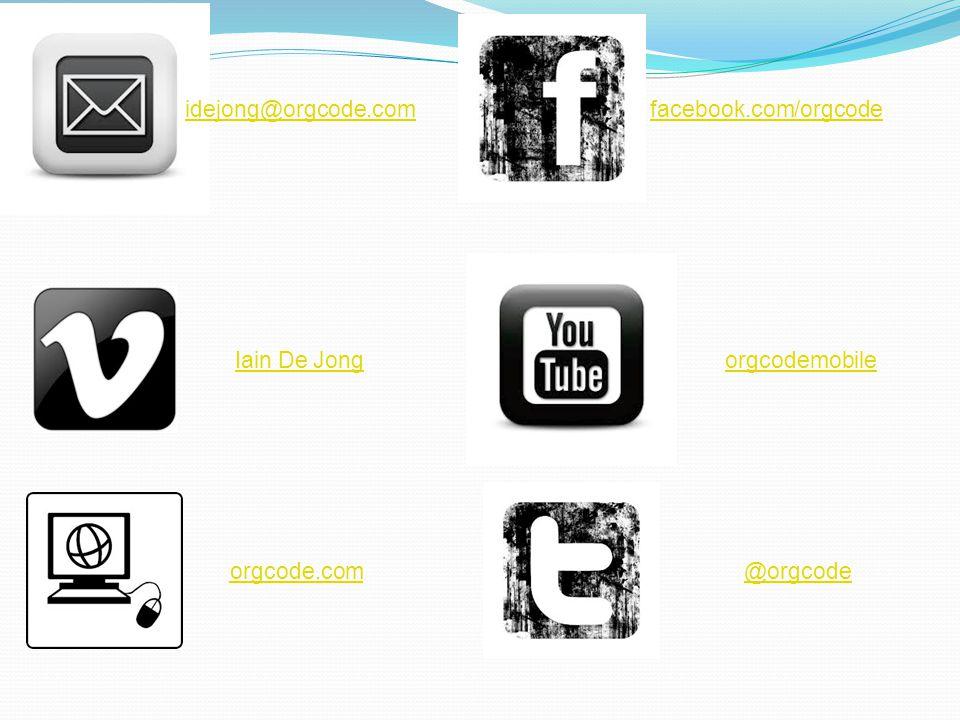 idejong@orgcode.com orgcode.com facebook.com/orgcode orgcodemobile @orgcode Iain De Jong
