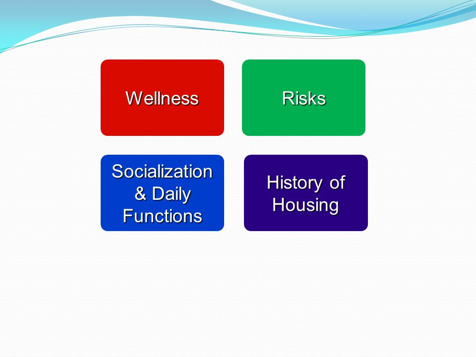 Wellness Wellness Socialization & Daily Functions Socialization & Daily Functions Risks Risks History of Housing History of Housing