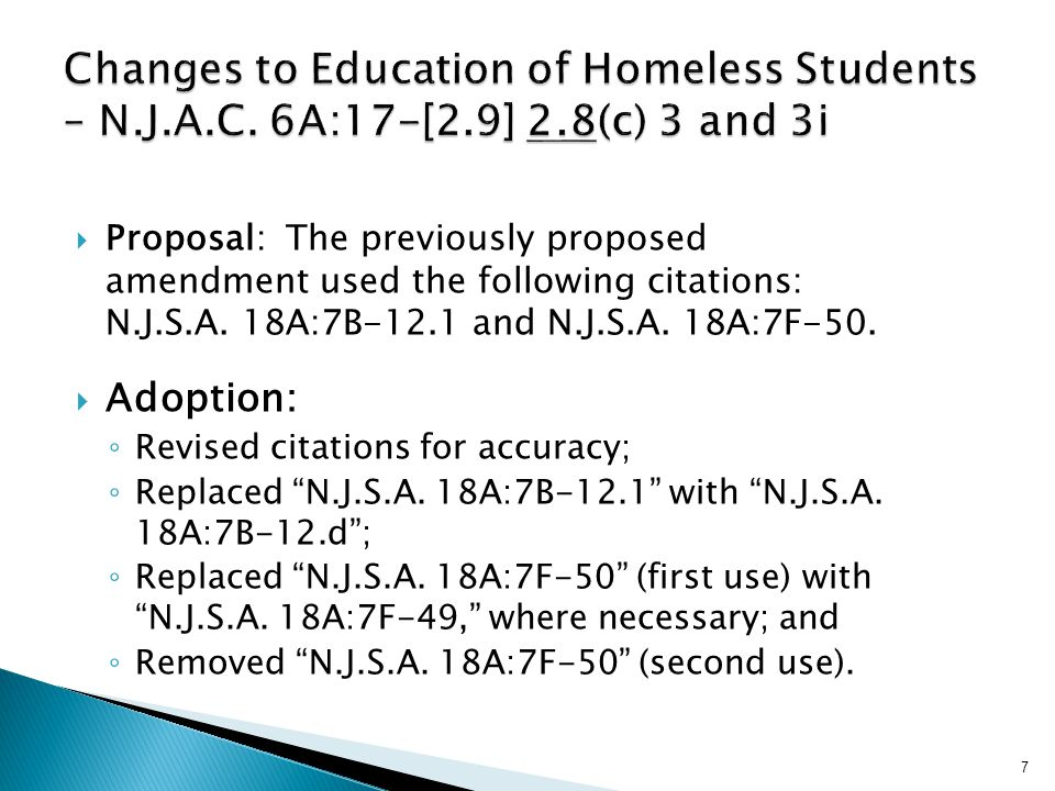  Proposal: The previously proposed amendment used the following citations: N.J.S.A.