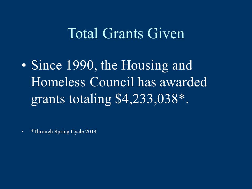 Total Grants Given Since 1990, the Housing and Homeless Council has awarded grants totaling $4,233,038*.